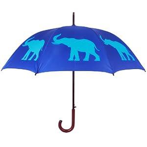 The San Francisco Umbrella Com Elephant II Walking Stick Rain Umbrella, Rich Blue and Sky Blue