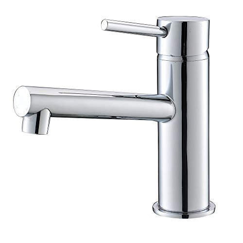 """Vapsint® 6.3"""" Contemporary Center Mounted Bathroom Vanity Sink Lavatory Faucet, Lead Free With Pull Out Spout, Polished Chrome"""