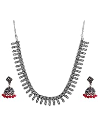 The Trendy Trendz Oxidised Silver Metal Gypsy Style German Silver Statement Necklace Jewellery For Girls And Women...