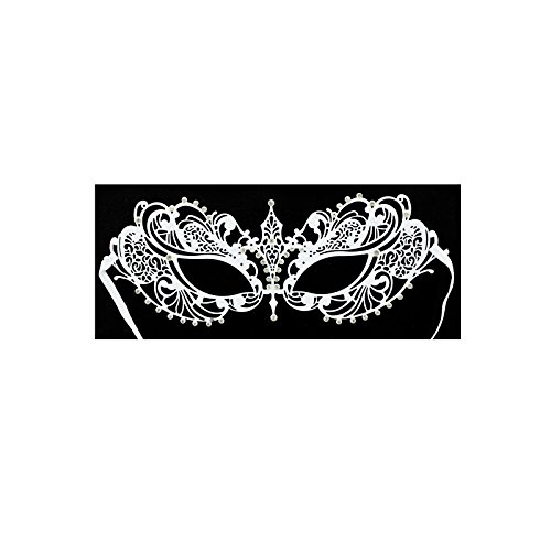 [Adorox Laser Cut Metal Venetian Pretty Masquerade Mask Rhinestones Mardi Gras Costume (White)] (White Mardi Gras Mask)