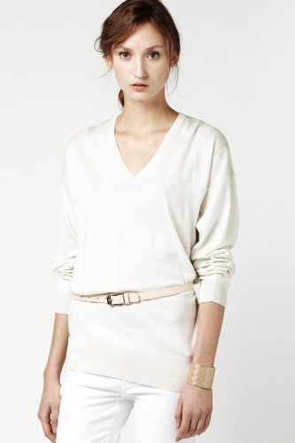Long Sleeve Silk Cotton V-neck Sweater