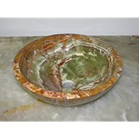 "14"" Round Green Onyx Bathroom Sink Vessel Above Counter or Undermount Installation"