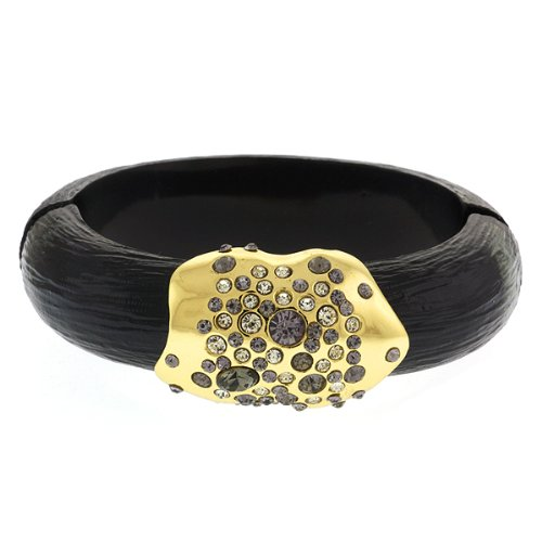 Black Resin With Magnetic Hinge Bracelet Bangle With Multi Color Pave Crystals