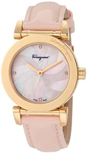 Salvatore Ferragamo Women's F50SBQ5027 S111 Salvatore Pink Genuine Patent Leather Mother-Of-Pearl Diamond Gold Plated Watch from Salvatore Ferragamo