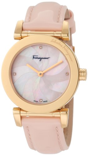 Ferragamo Women's F50SBQ5027 S111 Salvatore Pink Genuine Patent Leather Mother-Of-Pearl Diamond Gold Plated Watch