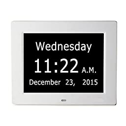 ESH Extra-Large Memory Loss Digital Calendar Day Clock with With Full Day & Month Spelling No Abbreviations Great For Impaired Vision (White)