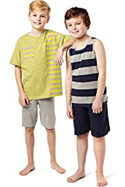 2 Pack Cotton Rich Multi-Striped Short Pyjamas