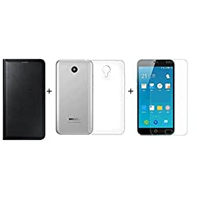 ZYNK CASE FLIP COVER BLACK+TRANSPARENT BACK COVER+ TEMPERED GLASS FOR MEIZU M3 NOTE