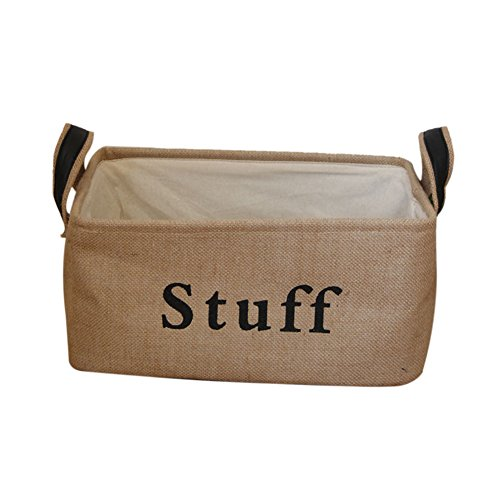 Review Vintage Eco-friendly Jute Linen Square Storage Bin for Organizing Toys Clothing Books Gift Ba...