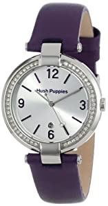 Hush Puppies Orbz Women's Automatic Watch with Silver Dial Analogue Display and Purple Leather Strap HP.3672L.2513