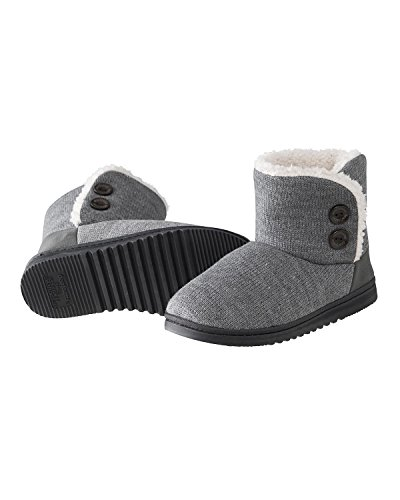 dearfoams-womens-indoor-outdoor-mixed-material-slipper-booties-with-faux-shearling-lining-gray-large