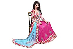 London Beauty Women's Pink Georgette Floral Lehenga Choli