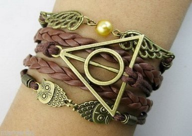 Harry Potter corda intrecciata Bracciale in pelle intrecciata - Snitch ali di angelo con Civetta e Doni della Morte Charm Bracelet - sacchetto regalo