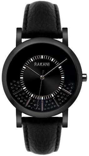 Rakani Stuck In Traffic 40mm Black Swarovski Crystals Watch with Black Steel Case and Leather Band