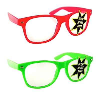 Lot of 2 Nerd Glasses Buddy Holly Wayfarer (Glow in the Dark Pink and Green Clear Lenses)