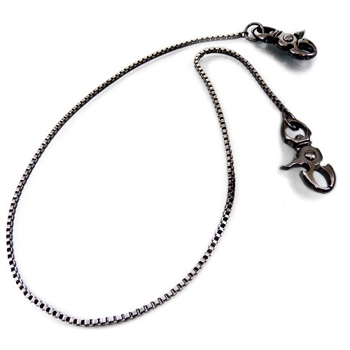 [w93] design of wallet chain ★ two-headed type ★ Black metallic ★ adhering ★