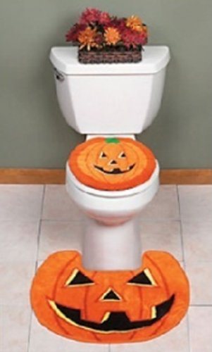 Halloween Pumpkin Jack O' Lantern Toilet Lid Cover and Contour Rug-2 pc Set