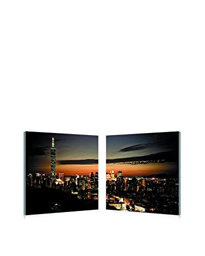Baxton Studio Taipei Skyline Mounted Diptych Print, Multi