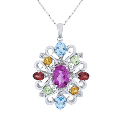 Sterling Silver Semi-Precious and Diamond Pendant Necklace (0.03 cttw, I-J Color, I1-I2 Clarity), 18