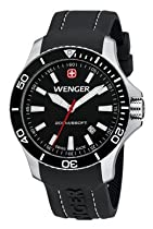 Wenger Sea Force Watch, Black Dial Black Bezel Black Silicone Strap 641.103