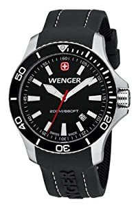Wenger Sea Force Watch, Black Dial Black Bezel Black Silicone Strap 641.103