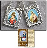 "Catholic Scapular, Womens, Teens or Mens Metal 2-panel Brown Scapular on Chain, Card Features ""The History of the Brown Scapular"" on July 16th, 1251, Our Blessed Mother Appeared to Saint Simon Stock, General of the Carmelite Order, in Answer to His Plea for Help. Mary Held Out to Him a Brown Woolen Scapular, Saying, ""Receive, My Beloved Son, the Scapular of Your Order. It Is the Special Sign of My Favor, Which I Have Obtained for You and Your Children of Mount Carmel. Whoever Dies Clothed with This Scapular Shall Be Preserved From the Eternal Flames. It Is a Sign of Salvation, a Sure Safeguard in Danger, a Pledge of Peace and of My Special Protection Until the End of the Ages."" Mary Promised Supernatural Favors and Special Protection to the Carmelites and All Who Would Wear the Brown Scapular. In 1910, Pope Saint Pius X Authorized the Use of a Scapular Medal Portraying the Sacred Heart of Jesus on One Side and on the Other, Our Blessed Mother Mary."