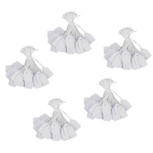 Phenovo Lot de 500pcs Étiquettes de Prix Étiquettes à Cordes pour Bijoux - Blanc