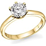 1/2 ct IGI Certified 14K White / Yellow Gold Round-Brilliant-Cut Diamond Engagement Ring (L-M Color, I1-I2 Clarity)
