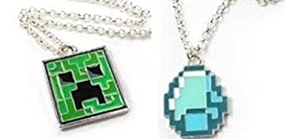 TWO Minecraft Creeper and Diamond Pendant Necklaces Silver Toned