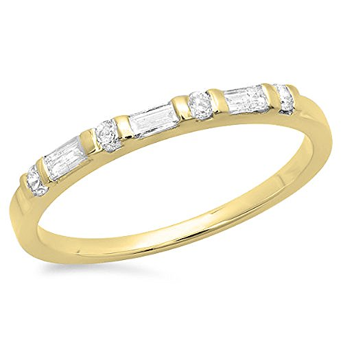 0.30 Carat (Ctw) 18K Yellow Gold Round And Baguette Diamond Anniversary Stackable Band 1/3 Ct (Size 7)