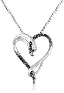 Sterling Silver Black Diamond Interlocking Heart (1/10cttw) Pendant Necklace, 18