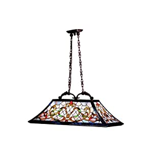 65207 Traditional 3LT Island/Pool Table Pendant, Tannery Bronze Finish with Gold Accent and Art Glass Shade
