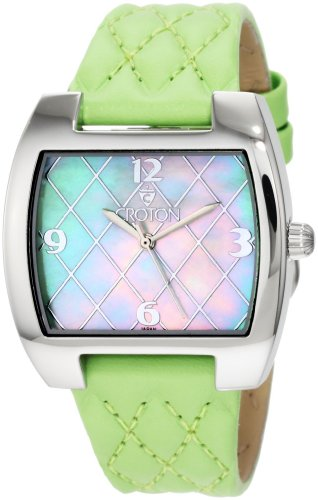 Croton Women's CN207168GRMP Green Quilted Green Mother-Of-Pearl Dial Watch