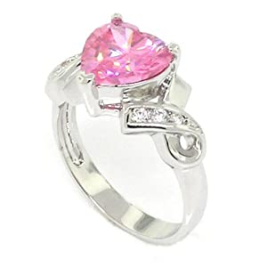Classic Promise Heart Ring w/Pink & White CZs by Alljoy