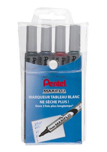 pentel-maxiflo-pochette-4-marqueurs-tableau-blanc-pointe-conique-moyenne-encre-noir-bleu-vert-rouge