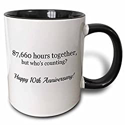 3dRose mug_224655_4 Happy 10th Anniversary 87660 hours together Two Tone Black Mug, 11 oz, Black/White
