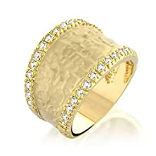 buy Bling Jewelry Pave Cubic Zirconia Hammered Gold Plated Matte Modern Ring