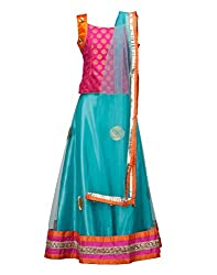 Peaches Girls' Lehenga Choli (L-SGP-5_Seagreen_5-6 Years)