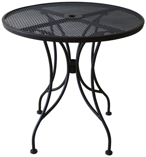 Oak street manufacturing od24r round black mesh top for Black patio table