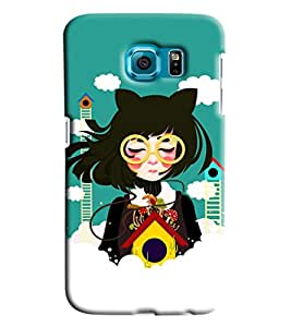 Blue Throat Girl In Chinese Printed Designer Back Cover/ Case For Samsung Galaxy S7 Edge