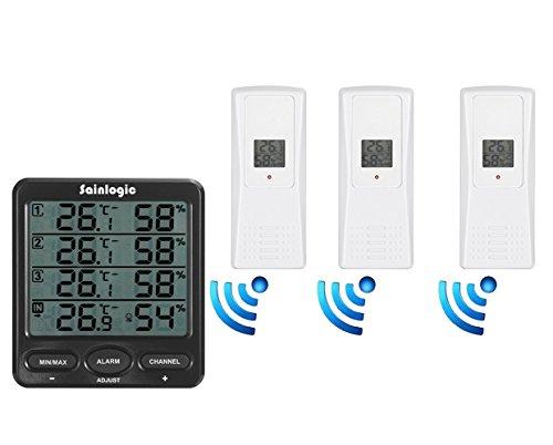 SainlogicR-Funk-Thermometer-Hygrometer-Wetterstationen-mit-3-InnenAuen-8-Kanal-Aussensensoren-Luftfeuchte-LCD-Display-Minmax