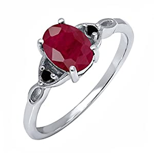 1.96 Ct Oval Red Ruby Black Diamond 925 Sterling Silver Ring