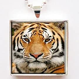 Majestic Tiger Face Photo Glass Tile Pendant Necklace with Chain