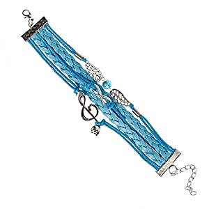 BMC 3 Silver Alloy Charms 8 Blue Colored Mix Strand Fabric Fashion Bracelet