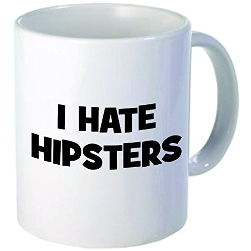 "Rikki Knight ""I Hate Hipsters"" Ceramic Coffee Mug, 11 Oz, White"