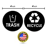 """Recycle & Trash Decal ● Trash Sticker ● Recycle Sticker ● Kitchen Decal ● Organize & Coordinate Recycle Bin from Trash Bin ● Great for Home & Office ● (2) 4"""" x 4 inches (1 Recycle & 1 Trash)"""