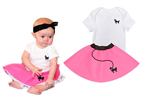 Hip Hop 50S Shop 2 Piece Newborn/Infant Poodle Skirt Outfit - Size 6 Months Hot Pink