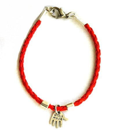 Red Leather Hamsa Bracelet with Silver Charms for Children