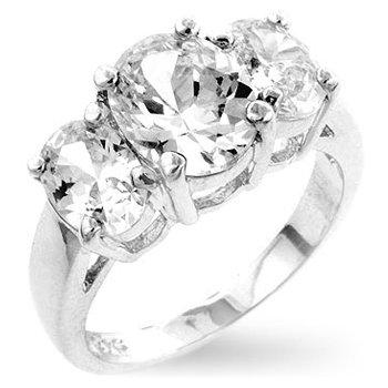 Studio 925 Classic 3-stone White Diamond CZ 3.5ct Anniversary Sterling Silver Ring, 10