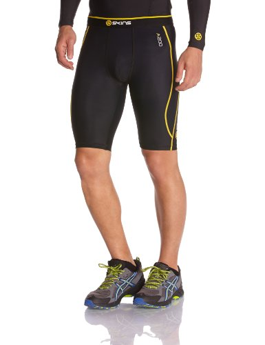 Skins A200 Men's Compression Half Tights-Black Yellow-XL